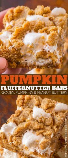 These Pumpkin Fluffernutter Bars are AMAZING. Perfect to kick off pumpkin season!