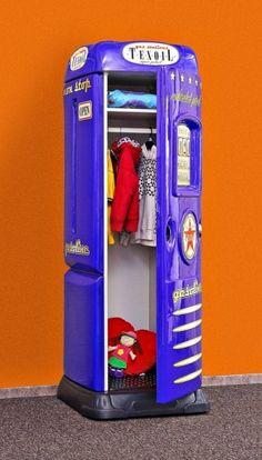 Kleiderschrank Tankstelle mit Schreibtisch blau