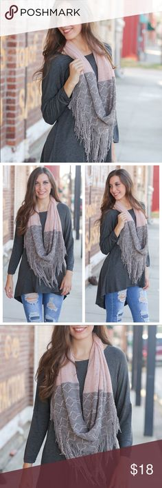 Pink and gray fringe infinity scarf Pink and gray fringe infinity scarf is modeled with our charcoal high low tunic.   100% Acrylic and super soft  Add to bundle feature to save Infinity Raine Accessories Scarves & Wraps