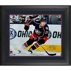"""Brandon Saad Columbus Blue Jackets Fanatics Authentic Framed Autographed 16"""" x 20"""" Blue Jersey Stopping Photograph"""