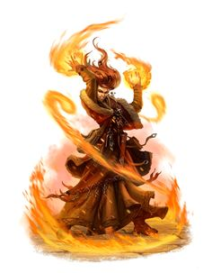 Female Human Fire Wizard or Sorcerer - Pathfinder PFRPG DND D&D 3.5 5th ed d20 fantasy