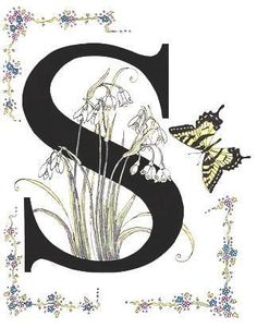 Letter L - initial art print - flowers and butterflies Alphabet Art, Alphabet And Numbers, Letter Art, Creative Lettering, Lettering Design, Hand Lettering, Decorative Lettering, Snowflakes Art, Initial Art