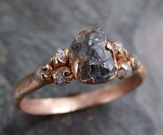 Raw Green Sapphire Diamond Rose Gold Engagement Ring Wedding Ring Custom One Of a Kind Gemstone Ring Three stone Ring
