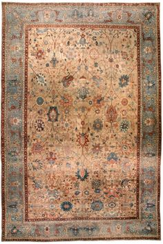 Antique Rugs Nyc A Persian Tabriz Rug By Doris Leslie Blau An Early Century The Abrashed Camel Field With Allover Trellis