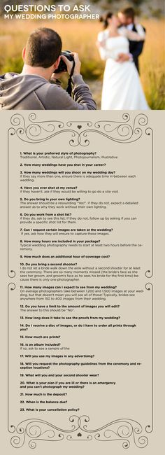 Questions to ask potential wedding photographer photographers top questions you need to ask your wedding photographer junglespirit Gallery