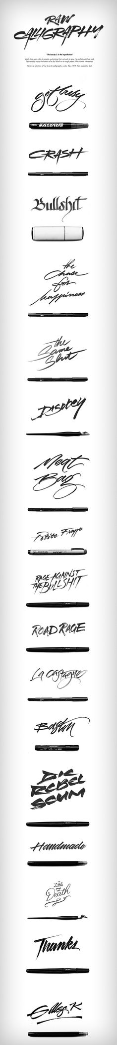 A selection of my favorite calligraphy works. Raw. With their respective tool.