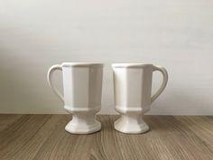 Set of Pfaltzgraff Pedestal Mugs in Heritage White by VintageByJoe on Etsy