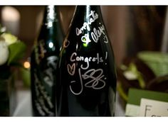 "Wine bottles we receive from the ""Pink and Wine"" Bridal shower will be used for guests to sign for the guest books at the wedding!"