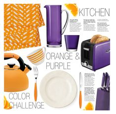 """Orange & Purple"" by pokadoll ❤ liked on Polyvore featuring interior, interiors, interior design, home, home decor, interior decorating, Circulon, Oster, Juliska and LSA International"