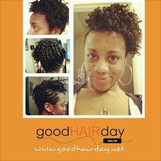 Natural Two strand twist up do  Relaxed Styles, Natural Styles, Keratin Treatments, Custom Color, Precision Cuts, Book online!  www.goodhairday.net