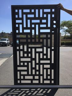 GORGEOUS, CUSTOM, HANDCRAFTED METAL ENTRY GATE Factory direct metal gates at WHOLESALE PRICES Here is a fabulous custom entry gate with FACTORY-DIRECT PRICING. Regularly $1600, we offer this lovely designer gate for ONLY $899 Fabricated at our facility in California, this gate is a great accent Steel Gate Design, Front Gate Design, House Gate Design, Door Gate Design, House Front Design, Grill Door Design, Deck Design, Gate Designs Modern, Modern Entrance