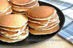 pancakes pankejki ciastka z patelni amerykańskie naleśniki babkawformie.blogspot.com Cake Recipes, Dessert Recipes, Desserts, Breakfast Menu, Orange Crush, Pancakes, Good Food, Food And Drink, Tasty