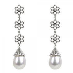 Leslie-Greene Leslie-Green-Diamond-Flower-and-Pearl-Drop-Earrings
