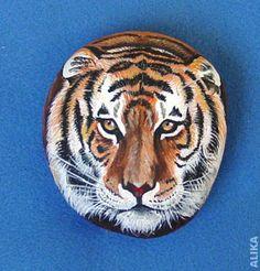 Tiger head. Hand painted rock. by Alika-Rikki, via Flickr