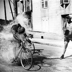 Cooling down at the 1947 Tour de France