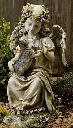 Guardian Angel with Kitten Garden Statue