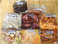 8 make ahead freezer to crock pot meals. Especially want to try honey garlic chicken, and the spare ribs recipe