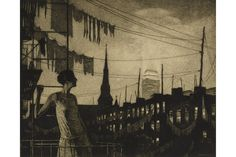The drypoint and etching on laid paper is signed in pencil by the artist, Martin Lewis. The work, one of 100 impressions, was made in 1929. The clothes line and the overhead wires in the image struck Kenneth T. Jackson, editor in chief of the 'Encyclopedia of New York City,' as unusual. As far as clothes lines, 'you do see them in other big cities…but you don't see much of them in Manhattan,' he said. And Manhattan, unlike many other big cities around the word, is 'mostly without overhead…