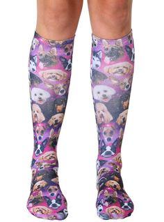 Galaxy Puppy Knee High Socks