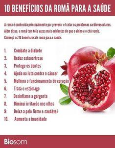 10 benefícios de romã para a saúde - infográfico