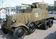 BA-3 armored vehicle made in Soviet Russia in the 1920s