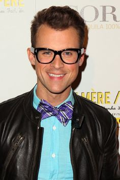 Love the purple bow tie and the leather jacket. Brad Goreski, Purple Bow Tie, West Hollywood, Red Carpet, Two By Two, Leather Jacket, Bows, Bow Ties