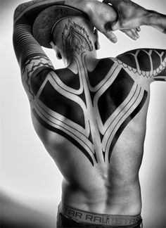 Tribal back and full sleeves tattoo by Roxx