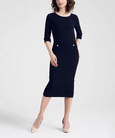 Look at this #zulilyfind! Black Button-Accent Back-Slit Sheath Dress #zulilyfinds