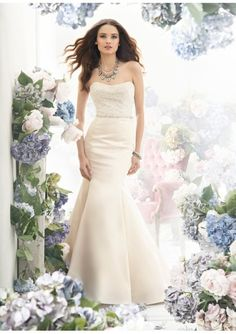 Ivory Satin Mermaid Wedding Dress With Beaded Bodice