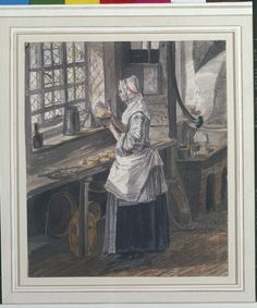 Creator:   Paul Sandby (1731-1809) (artist)  RCIN   914333  Reference(s):   RL 14333   O(S) 246    Description:   A maid standing & making pies at a table