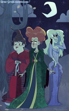 "Ah, the Sanderson Sisters. What kid didn't love ""Hocus Pocus?"" My roommate, Reed Black, suggested I draw the das. The Sanderson Sisters Heroes Disney, Disney Films, Disney Villains, Disney S, Disney Love, Best Halloween Movies, Disney Halloween, Halloween Art, Halloween Costumes"