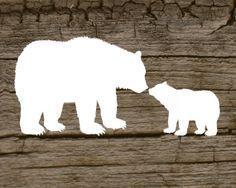 mama bear kiss baby bear silhouette - Google Search