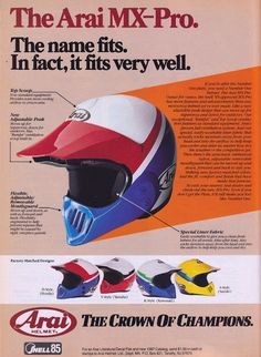 Racing Helmets Garage: Vintage Brochures: Arai MX-Pro 1987 (Usa)