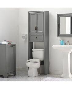 Tara Space Saver Cabinet In Vintage Grey (Grey - MDF - Farmhouse), Gray, Crosley Furniture Toilet Storage, Bathroom Storage, Small Bathroom Cabinets, Small Bathrooms, Bathroom Styling, Bathroom Colors, Bathroom Sets, Bathroom Canvas, Cottage Style Doors