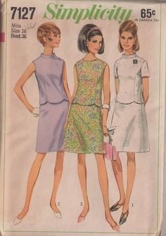 MOMSPatterns Vintage Sewing Patterns - Simplicity 7127 Vintage 60's Sewing Pattern COOL Mod Scalloped Hem Nehru Collar Top, Blouse, A-Line Skirt, 2 Piece Day Dress