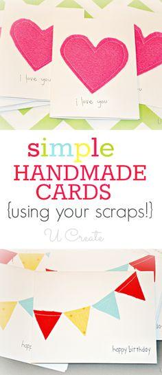 Simple Handmade Cards using your scraps!! u-createcrafts.com