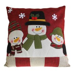Snowman Family Decor Cushion Cover Size: 40 x 40 cm, with festive felt and embroidery details. Each cushion cover comes with a cotton insert that can be filled and used as inner. Product Code Price: plus p&p Christmas Cushion Covers, Christmas Cushions, Christmas Pillow, Christmas Quilting, Christmas Store, Christmas Crafts, Christmas Ideas, Christmas Snowman, Christmas Stockings