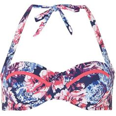 Dorothy Perkins Navy Floral Two Way Bikini Top ($25) ❤ liked on Polyvore featuring swimwear, bikinis, bikini tops, swimsuits, bathing suits, blue, underwire bikini, underwire bathing suits, swimsuits bikinis and swimsuit tops