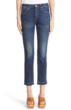 AMO 'Babe' Released Hem Crop Jeans (True Blue)