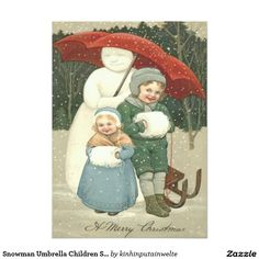 Snowman Umbrella Children Snow Winter 5x7 Paper Invitation Card