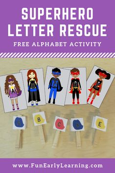 Superhero Letter Rescue is a FUN and FREE activity for learning letter recognition, letter identification, and fine motor skills! It's a perfect alphabet activity for preschool, kindergarten and RTI! Preschool Letters, Learning Letters, Alphabet Activities, Preschool Crafts, Preschool Ideas, Super Hero Activities, Early Learning Activities, Kindergarten Activities, Reading Activities