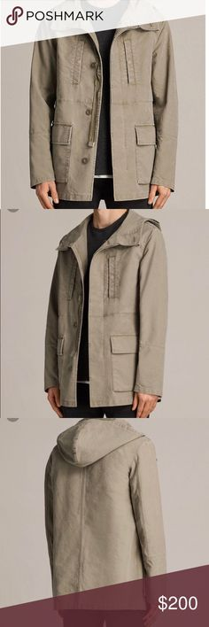 Men's AllSaints Bedard Khaki Cotton Jacket Brand new with tags! Just a bit too big for my guy and too late to send back. Great product. All Saints Jackets & Coats