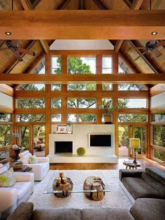 Natural wood beams and windows.  Great architectural design.