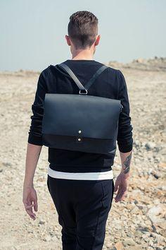 Black leather backpack / leather backpack / man bag/man backpack/ leather…