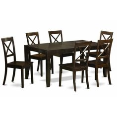 East West Furniture Lynfield 7 Piece Extension Dining Table Set with Boston Chairs, Beige Solid Wood Dining Set, 7 Piece Dining Set, Dining Room Sets, Dining Table In Kitchen, Kitchen Chairs, Dining Furniture, Dining Chairs, Room Chairs, Furniture Price