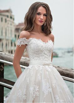 Buy discount Fantastic Tulle Off-the-shoulder Neckline A-line Wedding Dress With Lace Appliques & Beadings at Dressilyme.com
