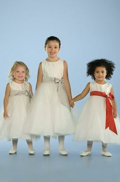 A-line Jewel Natural Waist Pleated Long Satin White Flower Girl Dresses