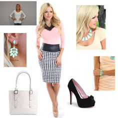 Hound's-tooth pencil #skirt, white top with mint #accessories & cute peep toe #shoes. $196