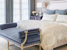 Luxurious, Traditional Master Bedroom with Velvet Bench