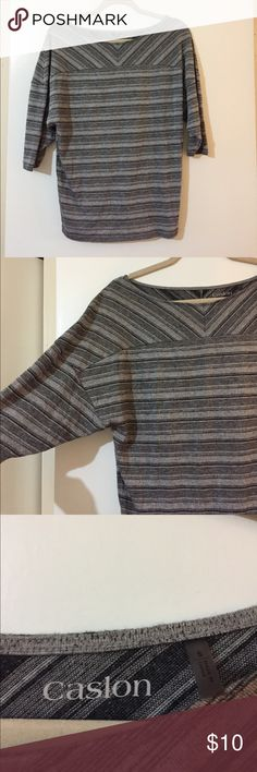 Grey/charcoal striped dolman sleeve top Classy grey and charcoal striped shirt. Dolman sleeves, bateau neckline. Great condition! Caslon Tops Blouses